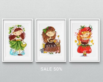 50% SALE for 3 Posters with Colorful Girls