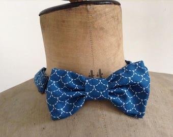 Noeud papillon homme ou femme, tissu coton sushi bleu, tour de cou réglable, fermeture crochet