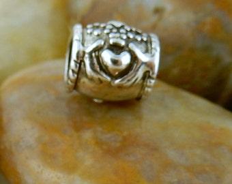 Silver Celtic Irish Claddagh Euro style bead