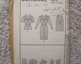 UNCUT Misses Top and Skirt - Size 12 to 16 - Butterick Pattern 40721980's