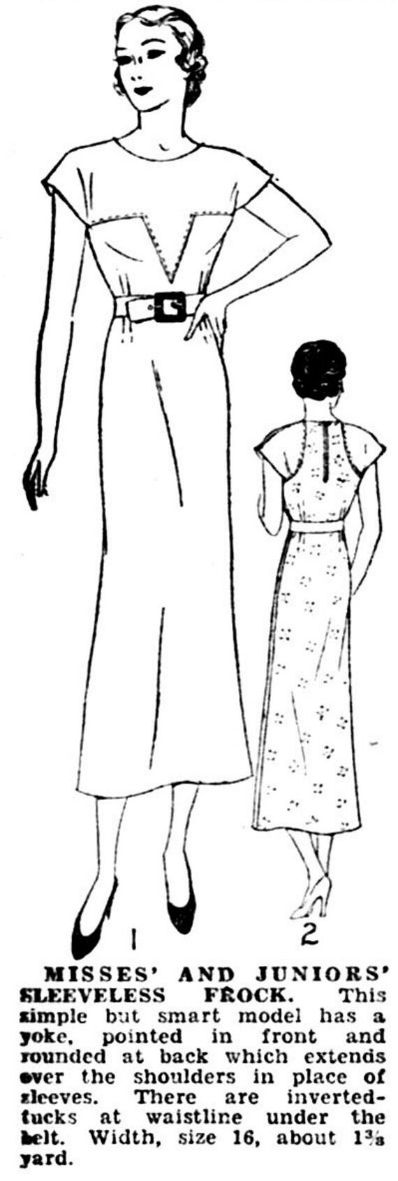 Vintage Schnittmuster der 1930er Jahre 30er Jahre Tag Kleid