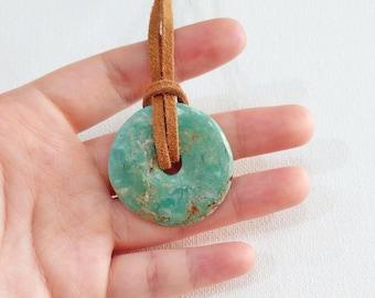 Turquoise Pendant Necklace, Pi Stone Necklace, Turquoise Donut, Crystal Necklace, Chakra Jewelry, Healing Stone, Metaphysical Jewelry, Gift
