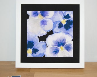 Big Pansy 23cm Watercolour Print | Signed Glicee Print | 23cm x 23 cm Square | by Hannah Knapton | Purple, White and Yellow