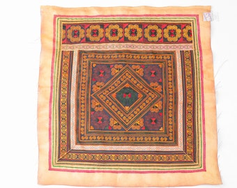 Orange Diamond Hmong Embroidered Textile Fabric Thailand Fashionable  (TX103ORGDIA)