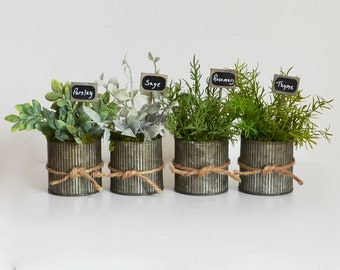 Faux Parsley, Sage, Rosemary and Thyme; Charming Housewarming Gift; Rustic Pots of Faux Herbs; Farmhouse Kitchen; Kitchen Decor; Herb Sign