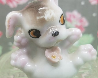 Tiny Baby Puppy Japan Vintage Rose