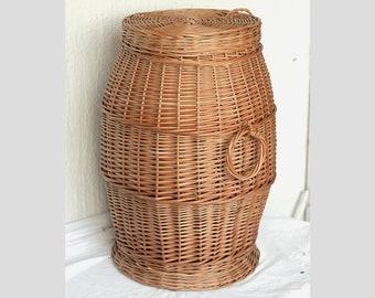 Wicker Laundry Basket, Wicker Hamper Basket, Handmade Willow Laundry Basket with Lid, Handwoven Wicker Hamper with Lid,Wicker Laundry Hamper