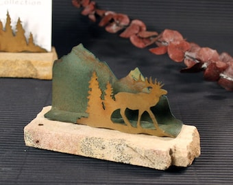 Business Card Holder - Patina Metal and Sand stone - Elk in Pine Trees