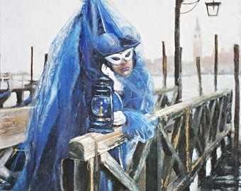 Venice original painting, mask festival, St Valentines day, Venice Carnival Art, Wall art, paintings of Venice, painting for a loved one