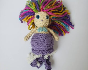 Crochet Doll, Handmade Crochet Merfolk, Jellyfish Queen Celestia