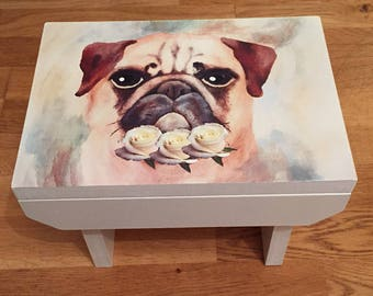 Pug Dog Painted Wooden MDF Foot Stool