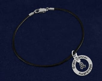 Brain Cancer Awareness Black Leather Cord Bracelet in a Gift Box (1 Bracelet - Retail) (RE-BC-126-7BC)