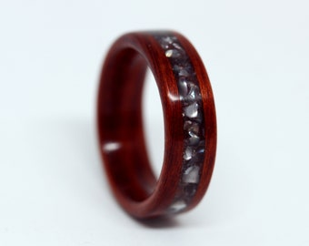 Custom Wooden Wedding Band, Custom Wood Ring, Black Pearl Ring, Wood Ring for Men, Womans Wood Ring, Redhear, Red, MnMWoodworks