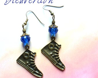 Bronze and blue converse earrings
