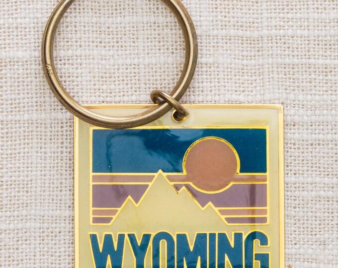 Wyoming Vintage Keychain Mountain Sun Colorful Key FOB Brass Key Chain 7KC
