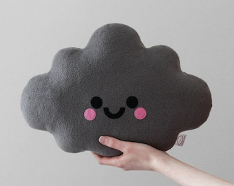 Grey Cloud Cushion, Kawaii Pillow, Soft Fleece Plush, Handmade Plush Toy