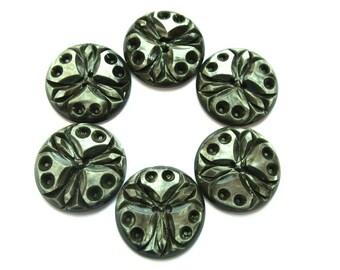 6 Buttons, antique vintage flower design 23mm, carved unique RARE buttons, unique color