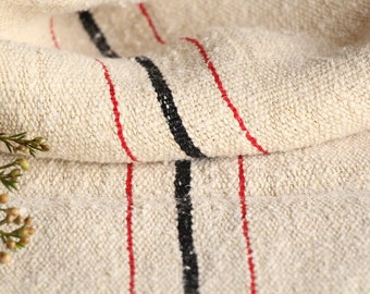 B 963: grainsack, antique linen,FRENCH RED and BLACK;  pillow benchcushion;wedding decoration;upholstery project,vintage,gift bag 49.61long