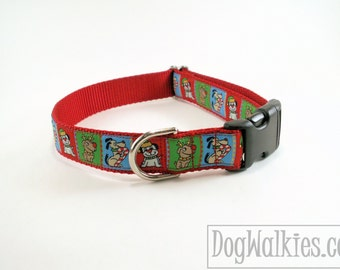 """Santa Pups Christmas Dog Collar - 1"""" (25mm) Wide - Choice of collar style and size - Martingale Dog Collars or Quick Release Buckle"""