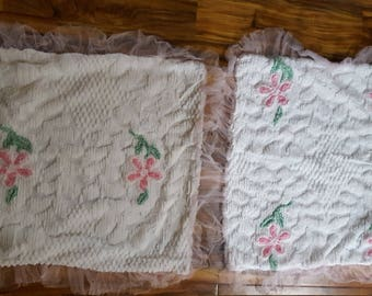 Vintage Chenille Set Of Two Pillow Cases