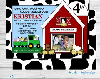 Barnyard Bash Birthday Invite  Horse   Cow   Tractor   Barn   Photo