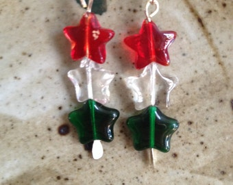 Red, green and clear star earrings, holiday earrings,