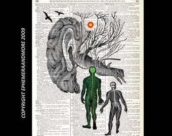 Human Brain MAN and SHADOW art print wall decor surreal illustration mind psychology black white green on upcycled dictionary book page 8x10