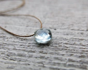 Aquamarine necklace. Minimalist aquamarine necklace with a small faceted  aquamarine briolette. Everyday necklace. March Birthstone.