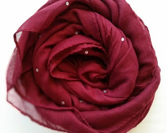 Gorgeous Deep red scarf/hijab with cyrstals