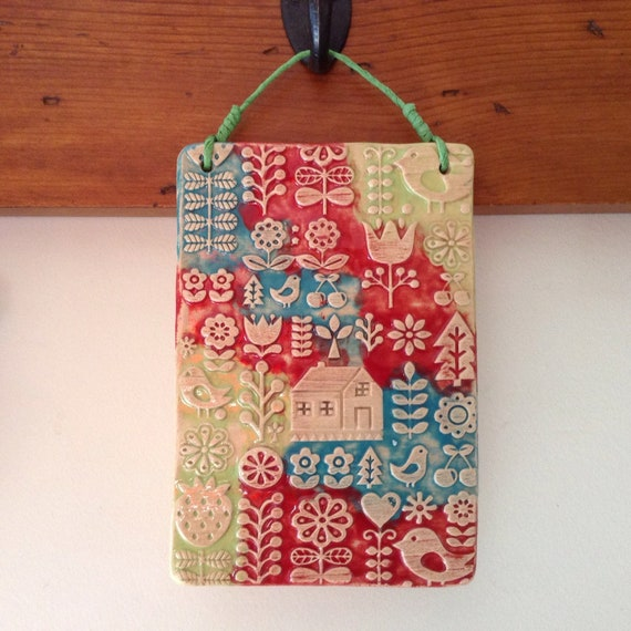 Handmade Ceramic Wall Hanging, folk art, scandi theme, home, house, pattern