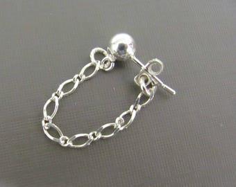 Sterling Silver Chain earrings, Silver Stud earrings, everyday earrings, dainty earrings, Simple Earrings, minimalist jewelry