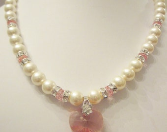 Swarovski Pearl and Crystal Necklace - Cream Swarovski Pearls and Rose Peach Crystal Heart - Wedding, Bride, Bridesmaids
