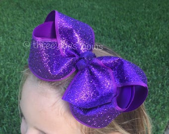 Purple Hair Bow. Purple HairBows, Purple Bows, Glitter Hair Bows, Glitter Hairbows, Purple Hair Bow, Large Glitter Bows, Purple Glitter Bows