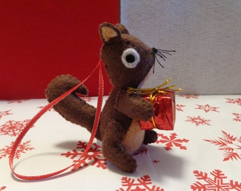 Brown Squirrel Holding Present Christmas Ornament by Pepperland