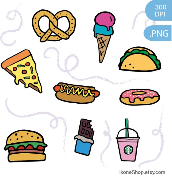 Junk food clipart fast food and sweets digital stickers