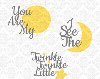 You Are My Sunshine Svg, I see the moon svg, Twinkle Twinkle, Svg cutting files, Nursery svgs, Cricut, Silhouette, Nursery Pillow Svg,