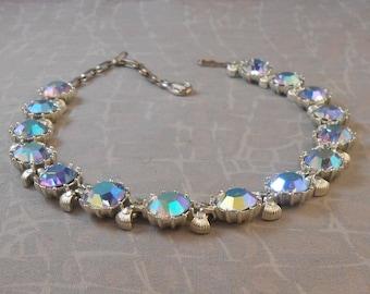 Coro Rhinestone Choker Necklace c 1950s LARGE aurora borealis stones
