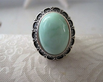 Chrysoprase Statement Ring in Antiqued Sterling Silver Setting