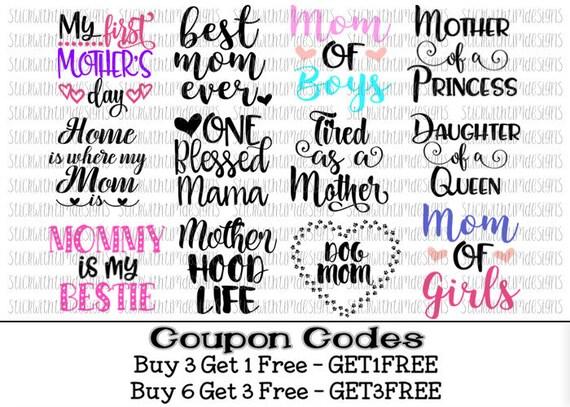 BUNDLE 12 Designs! Mothers Day Svg Files PNG Cut File Svg ...