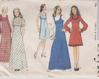 "Sewing Pattern for Empire Waist Dress or Jumper - Maxi Dress Pattern - Boho 70s Dress Sewing Pattern Size 10 Bust 32.5"" (82 cm) Style 3884 S"
