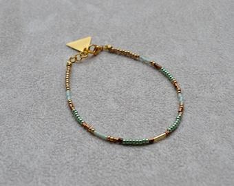 Bracelet fin en perles de Miyuki ( perles japonaises ) ton vert, doré, marron metallisé