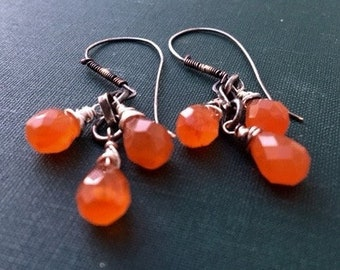 Cluster Earrings, Carnelian Earrings, Gemstone Earrings, Silver Earrings, Orange Earrings