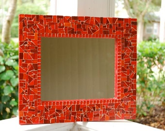 Wall Mirror, Red Mosaic Art