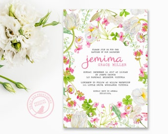 Pretty Pink Baptism Invitation, Floral Girl Christening Invitation, Pink and White Flower Invitation,  Printable, Digital, Faux glitter 9018