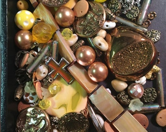 Yellow & Gold Bead Soup Beads Cabs Cabochons Glass Lucite Acrylic Flowers Agate Crystal Mix Charms Mother of Pearl Destash Lot Brass Druzy