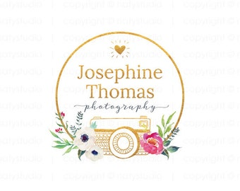 Gold camera logo photographer logo premade logo business logo design graphic design flower camera logo watercolour logo