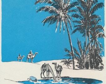 Vintage Image: Oasis. Camels.