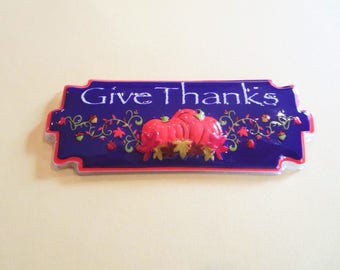 Give Thanks Thanksgiving Fall Autumn Cake Topper Decorating Kit