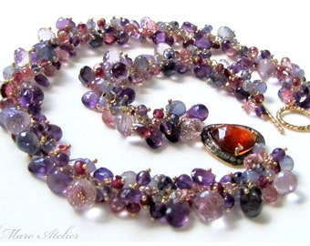 Amethyst, Garnet, Topaz, Iolite, Hessonite Diamond Necklace