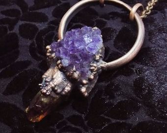 Amethyst and Citrine electrofromed necklace